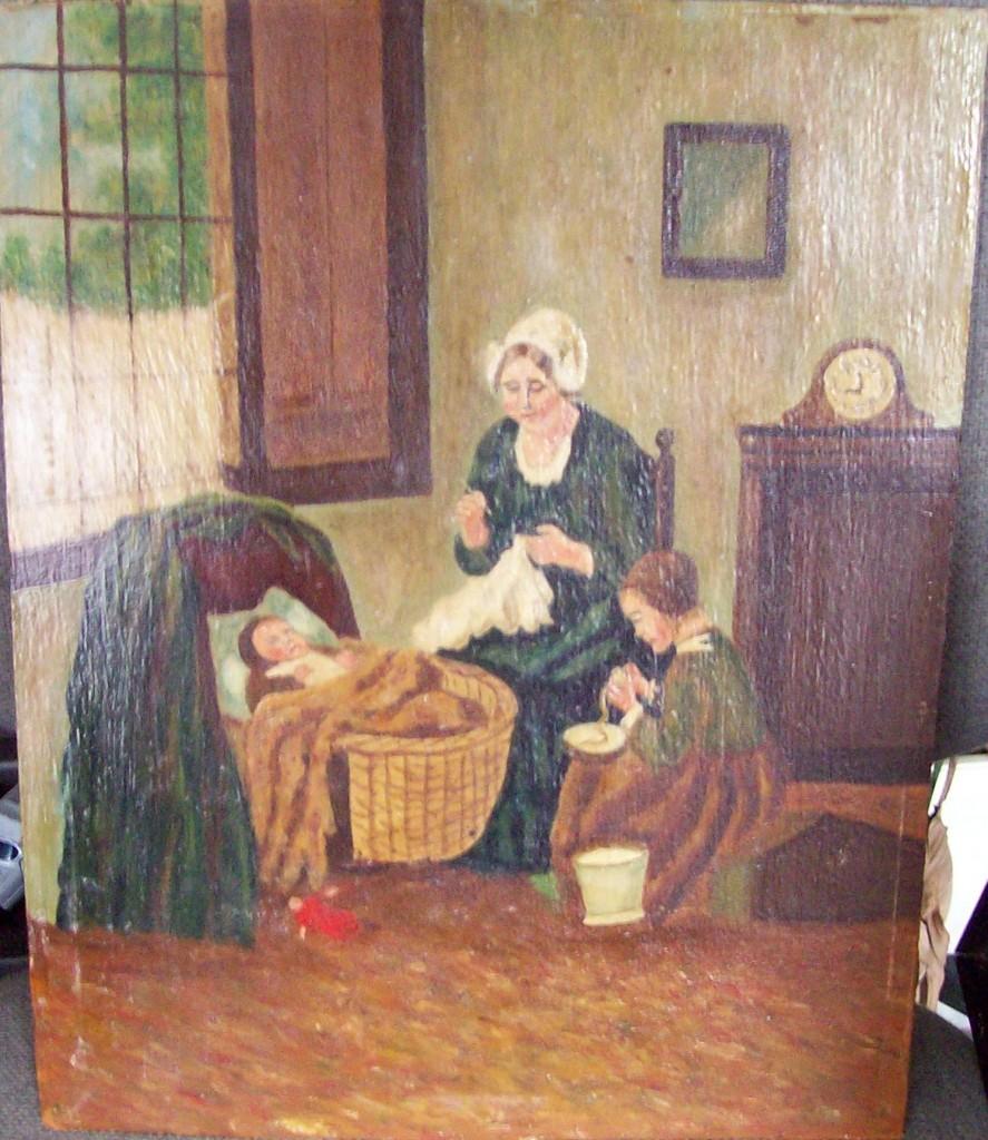 interieur met aardappelschillend meisje
